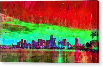 Built Canvas Print - Miami Skyline 106 - Da by Leonardo Digenio