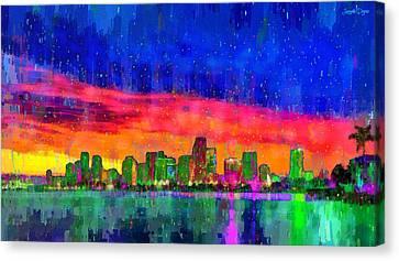 Built Canvas Print - Miami Skyline 115 - Da by Leonardo Digenio