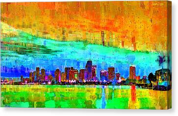 Miami Skyline 141 - Da Canvas Print by Leonardo Digenio