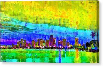 Miami Skyline 142 - Pa Canvas Print by Leonardo Digenio