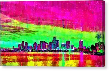 Miami Skyline 147 - Pa Canvas Print by Leonardo Digenio