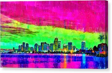 Miami Skyline 151 - Pa Canvas Print by Leonardo Digenio