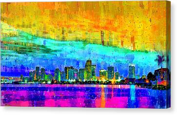 Miami Skyline 152 - Pa Canvas Print by Leonardo Digenio