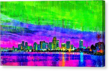 Miami Skyline 154 - Pa Canvas Print by Leonardo Digenio