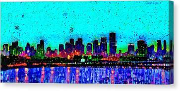 Miami Skyline 21 - Da Canvas Print by Leonardo Digenio