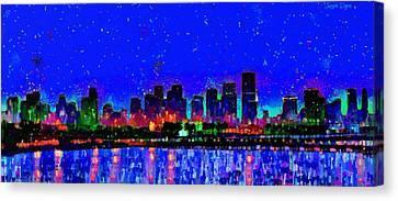 Miami Skyline 22 - Pa Canvas Print by Leonardo Digenio