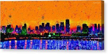 Miami Skyline 24 - Pa Canvas Print by Leonardo Digenio