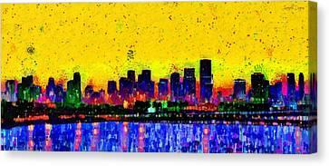 Expressive Canvas Print - Miami Skyline 25 - Pa by Leonardo Digenio