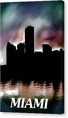 Miami Skyline Dusk  Canvas Print by Enki Art