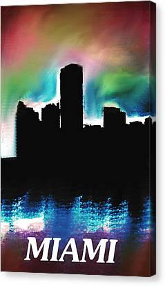 Miami Skyline  Canvas Print by Enki Art