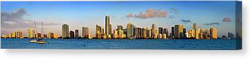 Miami Skyline In Morning Daytime Panorama Canvas Print by Jon Holiday