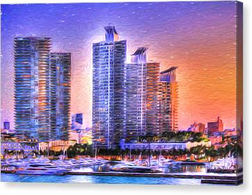 Canvas Print featuring the photograph Miami Skyline Sunrise by Shelley Neff