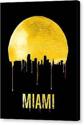 Miami Skyline Yellow Canvas Print by Naxart Studio