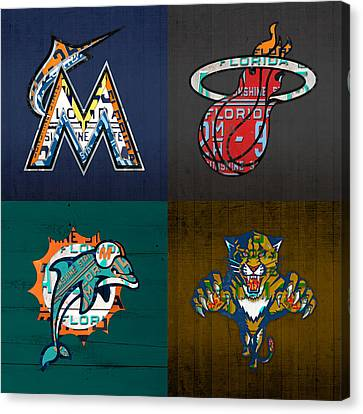 Miami Sports Fan Recycled Vintage Florida License Plate Art Marlins Heat Dolphins Panthers Canvas Print by Design Turnpike