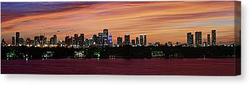 Canvas Print featuring the photograph Miami Sunset Panorama by Gary Dean Mercer Clark