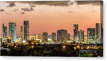 Miami Sunset Skyline Canvas Print