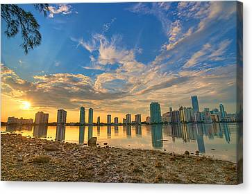 Miami Sunset Canvas Print by William Wetmore