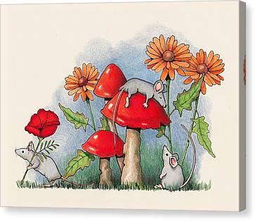 Mice In The Garden Canvas Print by Joyce Geleynse