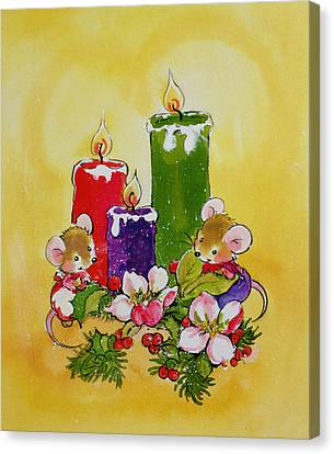 Candle Lit Canvas Print - Mice With Candles by Diane Matthes
