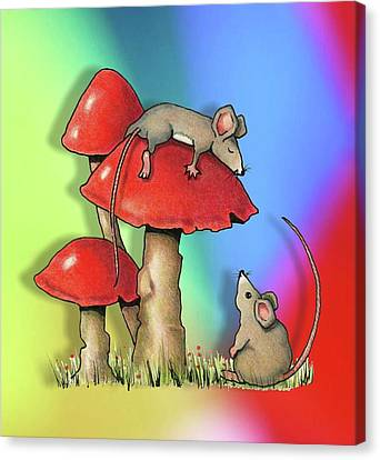 Mice With Toadstools Canvas Print by Joyce Geleynse