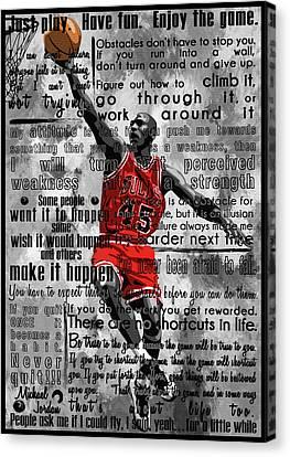 Mj Canvas Print -  Michael Air Jordan Motivational Inspirational Independent Quotes 2 by Diana Van