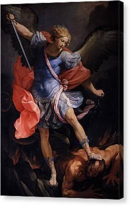 Archangel  Michael Defeated Satan Canvas Print by MotionAge Designs