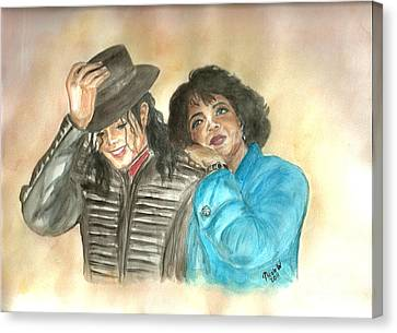 Michael Jackson And Oprah Canvas Print by Nicole Wang