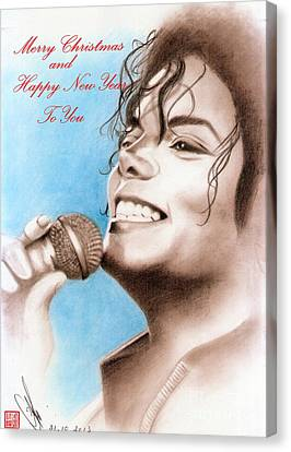 Michael Jackson Christmas Card 2016 - 005 Canvas Print by Eliza Lo