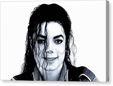 Canvas Print featuring the drawing Michael Jackson Pencil Drawing  by Movie Poster Prints