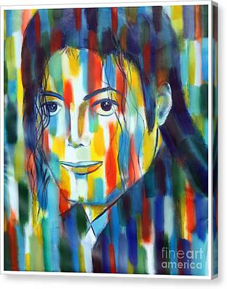 Michael Jackson  The Man In Color Canvas Print by Habib Ayat