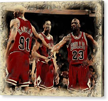 All Star Game Canvas Print - Michael Jordan And Crew by Brian Reaves