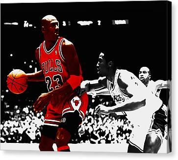 Michael Jordan And Kobe Bryant Canvas Print by Brian Reaves