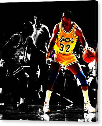 Michael Jordan And Magic Johnson Canvas Print by Brian Reaves