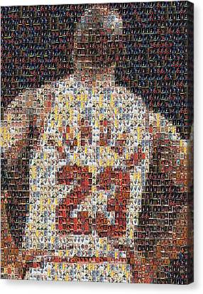 Mosaic Canvas Print - Michael Jordan Card Mosaic 2 by Paul Van Scott