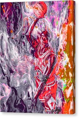 Michael Jordan Chicago Bulls Digital Painting Canvas Print by David Haskett