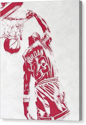 Bulls Canvas Print - Michael Jordan Chicago Bulls Pixel Art 1 by Joe Hamilton