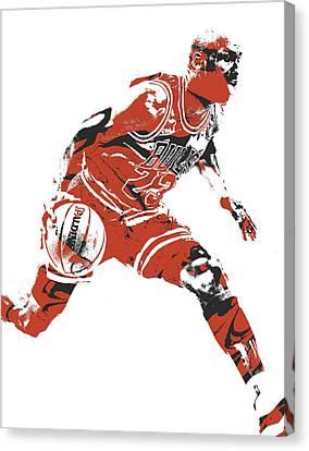 Jordan Canvas Print - Michael Jordan Chicago Bulls Pixel Art 10 by Joe Hamilton