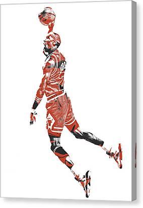 Jordan Canvas Print - Michael Jordan Chicago Bulls Pixel Art 11 by Joe Hamilton