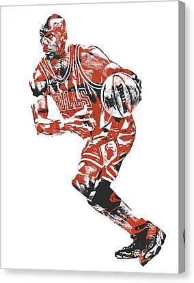 Jordan Canvas Print - Michael Jordan Chicago Bulls Pixel Art 12 by Joe Hamilton
