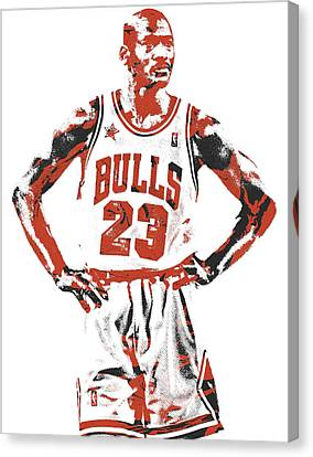 Jordan Canvas Print - Michael Jordan Chicago Bulls Pixel Art 13 by Joe Hamilton
