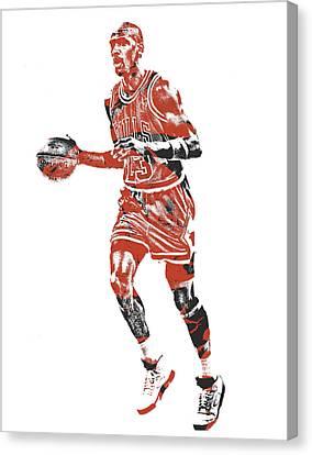 Jordan Canvas Print - Michael Jordan Chicago Bulls Pixel Art 14 by Joe Hamilton