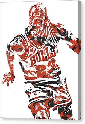 Jordan Canvas Print - Michael Jordan Chicago Bulls Pixel Art 15 by Joe Hamilton