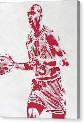 Bulls Canvas Print - Michael Jordan Chicago Bulls Pixel Art 2 by Joe Hamilton
