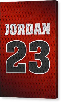 Michael Jordan Chicago Bulls Retro Vintage Jersey Closeup Graphic Design Canvas Print by Design Turnpike