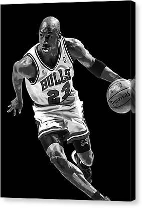Michael Jordan Drives To The Basket Canvas Print by Daniel Hagerman