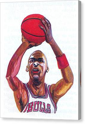 Canvas Print featuring the painting Michael Jordan by Emmanuel Baliyanga