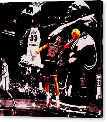 Patrick Ewing Canvas Print - Michael Jordan Going Left Hand by Brian Reaves