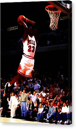 Michael Jordan In Flight 7c Canvas Print