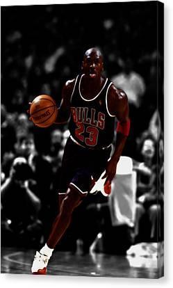 Utah Jazz Canvas Print - Michael Jordan In Open Court by Brian Reaves