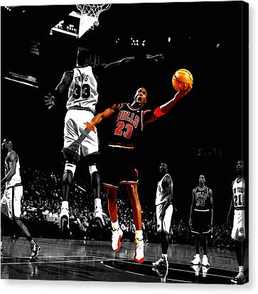 Patrick Ewing Canvas Print - Michael Jordan Left Hand by Brian Reaves